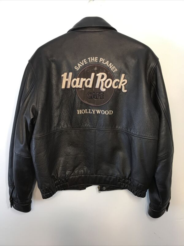 Hard Rock Cafe Save The Planet Hollywood Leather Jacket Brown Size Small