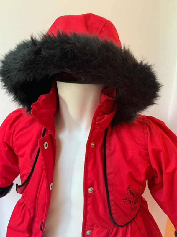 Big Chill 2T Red Faux Fur Detachable Hood Black Velvet Child Winter Coat Girl