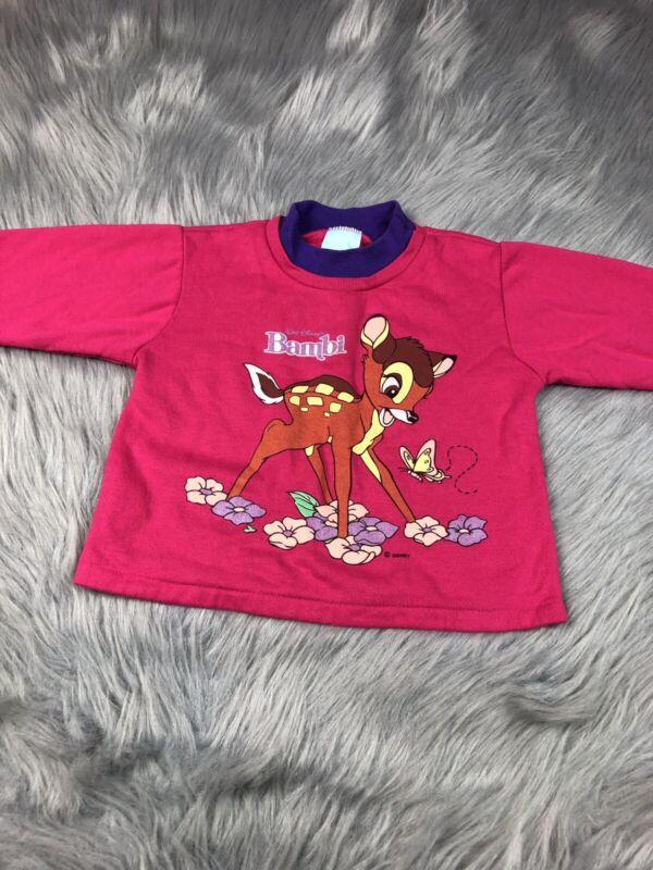 Vintage Toddler Girls Pink Purple Disney Bambi Deer 90s Sweater