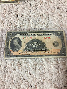 OLD MONEY...Charter notes bank of Montreal Nova Scotia 1935s