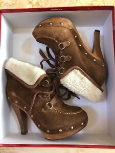 Guess Winter brown suede leather boot, heel wedge