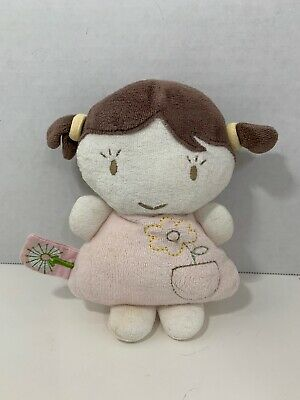 Dandelion Organic cotton plush baby teether doll rattle pink dress brown pigtail Dandelion Organic Cotton