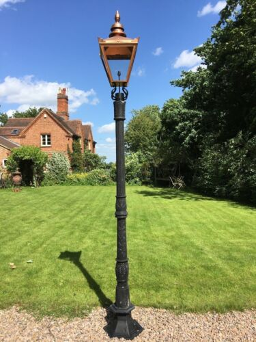 Large Cast Iron Lamp Post Garden Lamp Street Light Copper Colour Lantern 3.15m