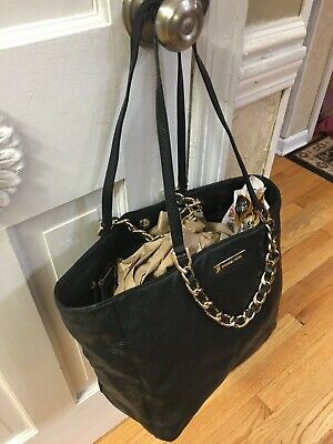 X-Large Michael Kors Chain Link Black Leather Tote Handbag Black Leather Large Tote