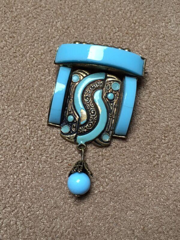 Victorian Glass Brooch Turquoise Drop Czech Damascene Opaline Enamel Jewellery