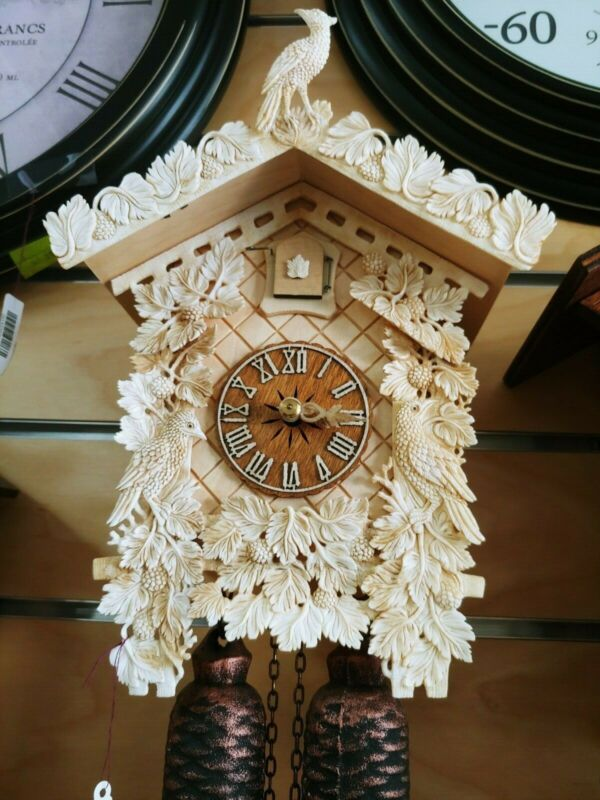 Genuine Bone Cuckoo Clock made in Germany Handcrafted Weight Driven