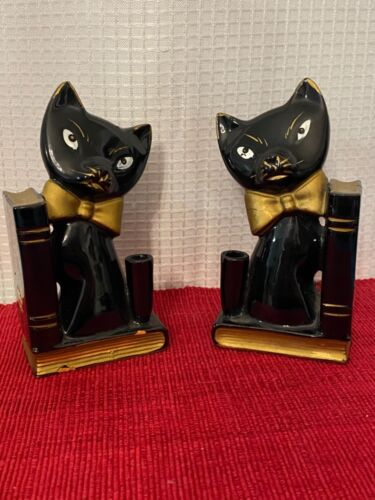 Vintage Black Siamese Cat Bookends 1950s Decor MCM Kitsch Wicca