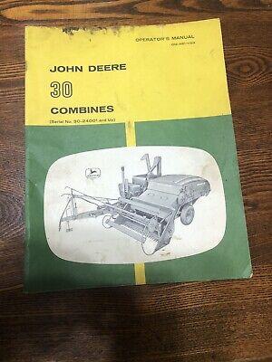 John Deere Vintage 30 Pull-type Omh611159 Combine Operators Manual