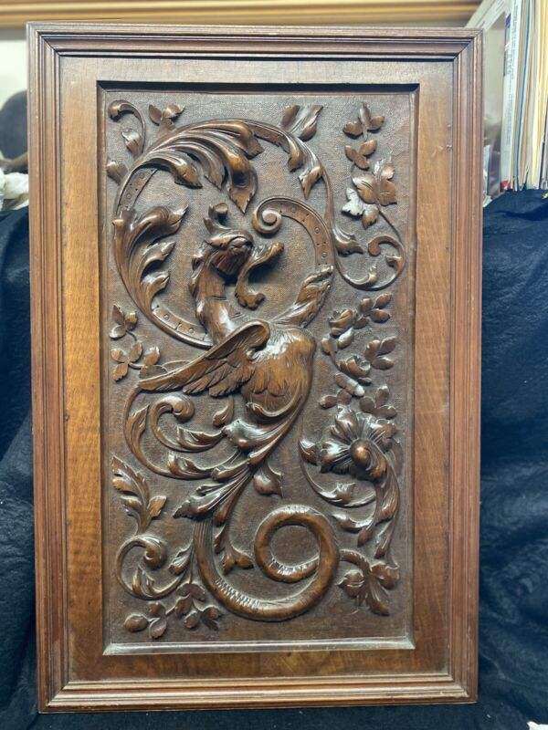Griffin walnut hanging wall plaque exceptional Victorian rare