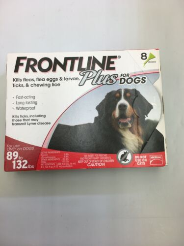 NEW Frontline Plus Dog Value Pack Flea and Tick Treatment 89-132 lbs. - 8 Doses