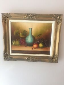 """Vintage signed still life fruits oil painting on canvas.27""""x23""""."""