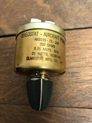NOS - CLAROSTAT RHEOSTAT AIRCRAFT POWER AN3155-25-200 200 OHMS 0.35AMPS 25 WATTS