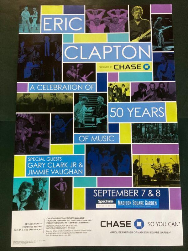 Eric Clapton Gary Clark Jr Jimmie Vaughan Promo Concert Poster MSG 24x36 RARE