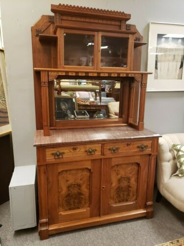 Antique Eastlake Marble Top Sideboard with Hutch