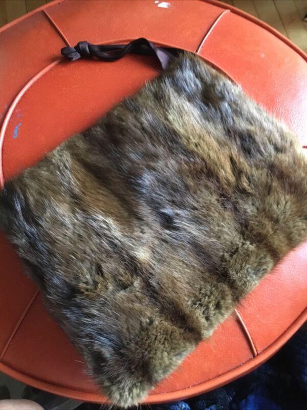 VINTAGE Real Fur Mink MUFF W/ ZIPPER & Strap Hand Warmer 13x11 1940's