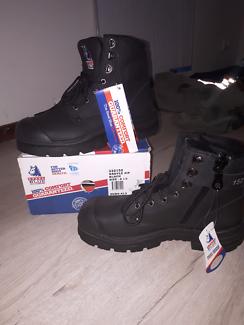 Steel blue work boots