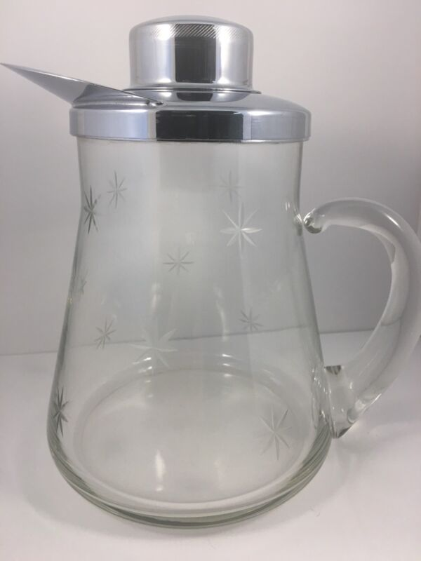 """Atomic Starburst Vintage Cocktail/Water  Pitcher Etched glass  8 1/2 """"  Tall"""