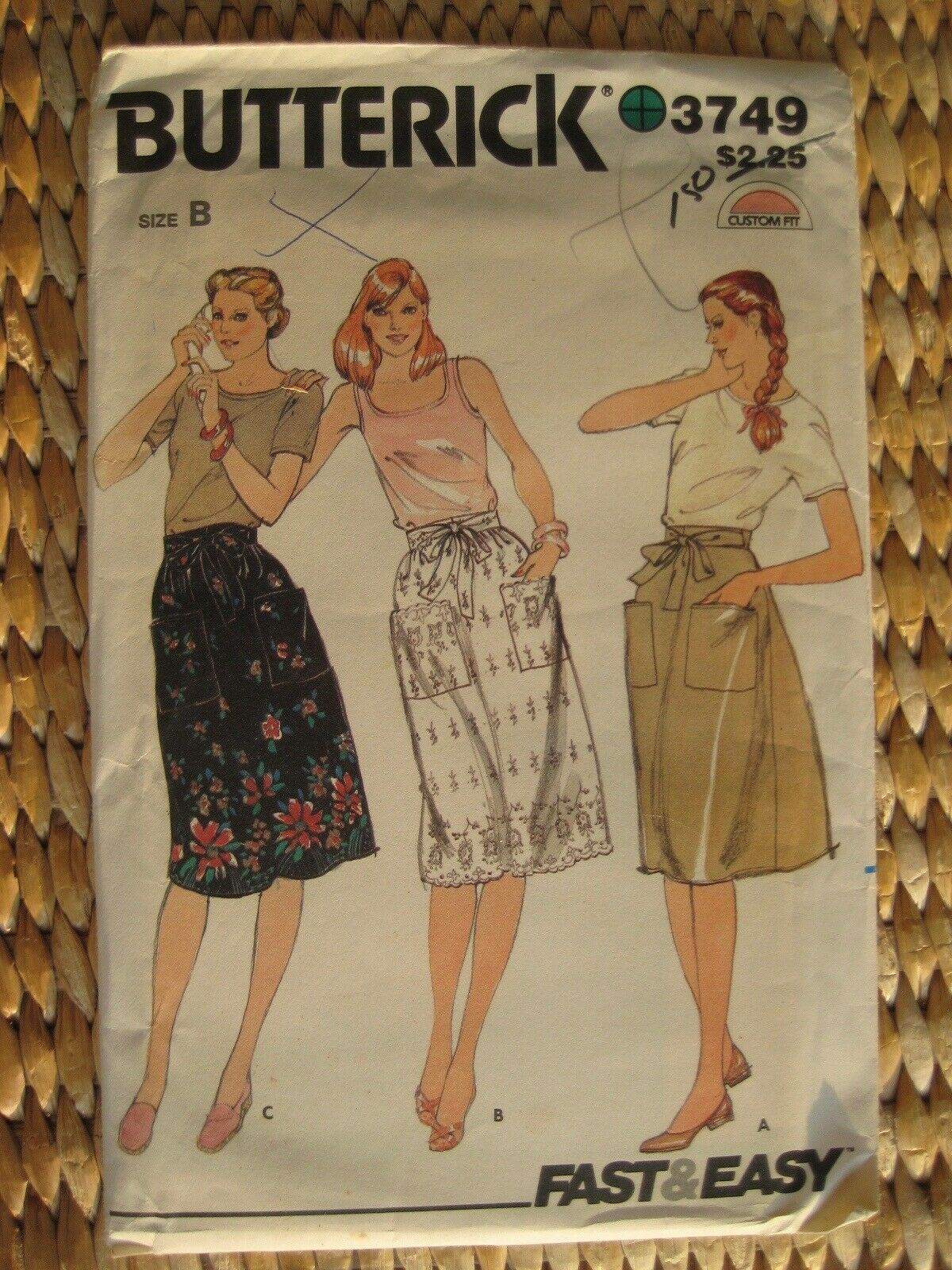 Vintage Butterick Pattern Misses A-Line WRAP Tie SKIRT 3749 Size 10-12-14 UNCUT - $9.00