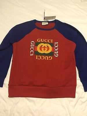 NWT & Receipt Gucci Men's Oversize Sweatshirt With Vintage Logo Sz L Large