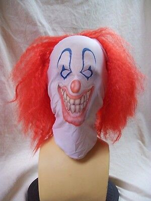 Scary Clown Face Mask Wig Evil Creepy Killer Circus Big Top Horror Pennywise - Scarey Clown Face