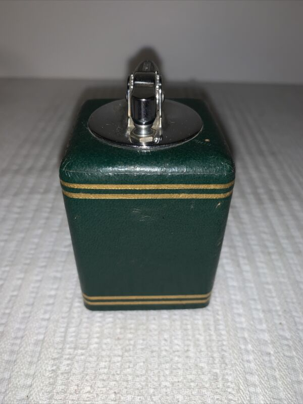 Ronson VICTOR GREEN LEATHER TABLE TOP CIGARETTE LIGHTER w/ 24K GOLD 1948 HTF