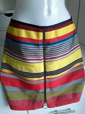 J Mclaughlin multi coloured strippy ribbon miniskirt front zip detail size 10