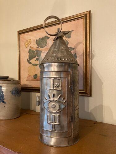 """Punched Tin Barn Lantern Freemason Symbolism Oatka Masonic Lodge Signed 16"""" AAFA"""