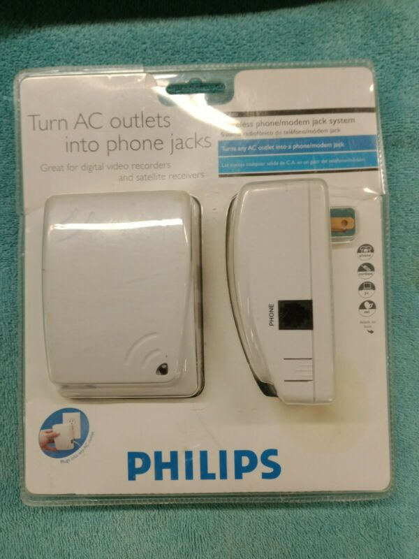 Philips Turn AC Outlets Into Phone Jacks Wireless Phone/Modem Jacks Sys. PH0900
