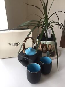 New in box! TEAOPIA teapot, strainer & 2 cups.