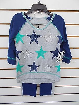 Girls Pogo Club 2Pc Navy  Green    Gray W  Stars Legging Set Size 4   10 12