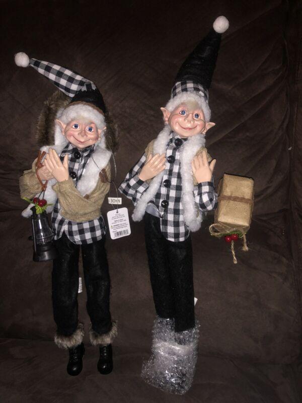 "Raz Imports 16"" Country Elves Set Of (2) Posable!!! NEW"