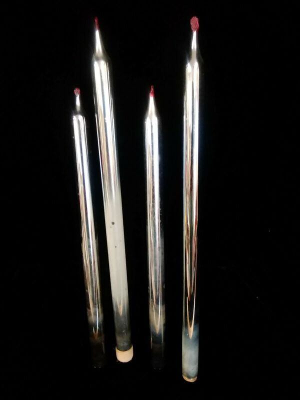 """VINTAGE MERCURY GLASS FAUX CANDLE 10"""" TAPERS MID CENTURY MODERN RED FLAME"""