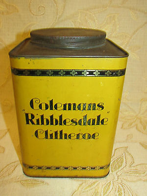 Large Antique Collectable Colemans Ribblesdale Clitheroe Cream Toffee Tin Box