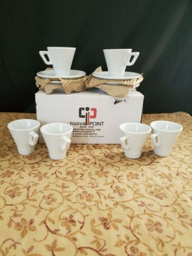 (6) NUOVA POINT ESPRESSO PESCARA WHITE CUPS & SAUCERS MADE IN ITALY NIB