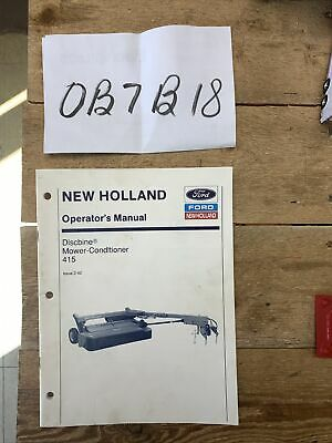 New Holland 415 Discbine Mower Conditioner Operators Owners Manual