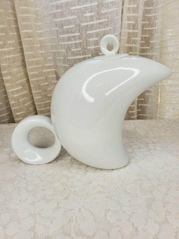 Mobidec Hanaceram 1/2 Moon Shaped White Teapot