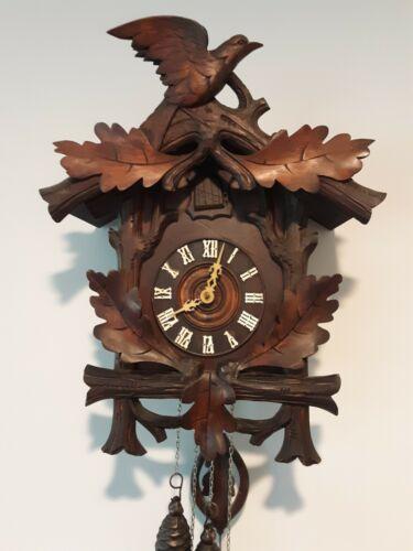 Antique German Black Forest Cuckoo Clock Austria pre1920 Carved Oak leaf & Raven