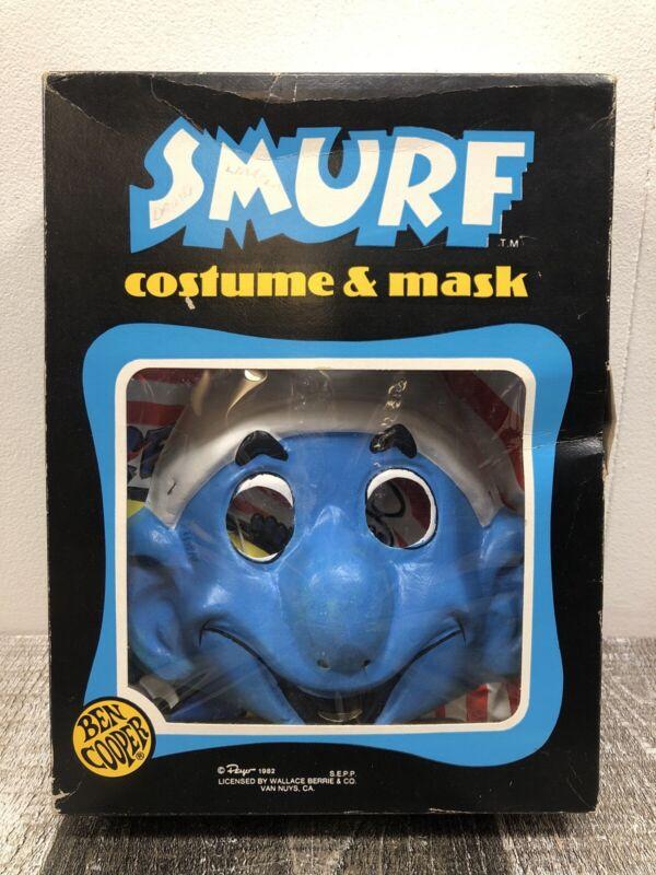 Vintage 1982 Ben Cooper Smurfs Halloween Vinyl Costume & Mask In Box