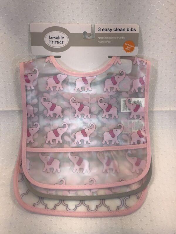 NEW 3pk Easy Clean Plastic Waterproof Feeding Baby Bib Bibs Girl Pink Elephants