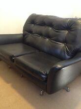 Retro vinyl leather look 2 seat lounge black Sans Souci Rockdale Area Preview