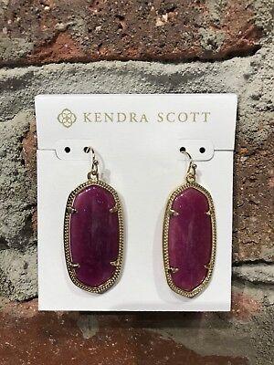 NWT Kendra Scott Elle Earrings in Purple Jade/ Gold