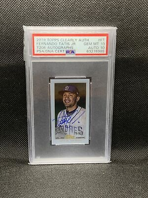 2019 Topps Clearly Authentic Fernando Tatis Jr T206 Auto /50 Rookie Psa 10/10