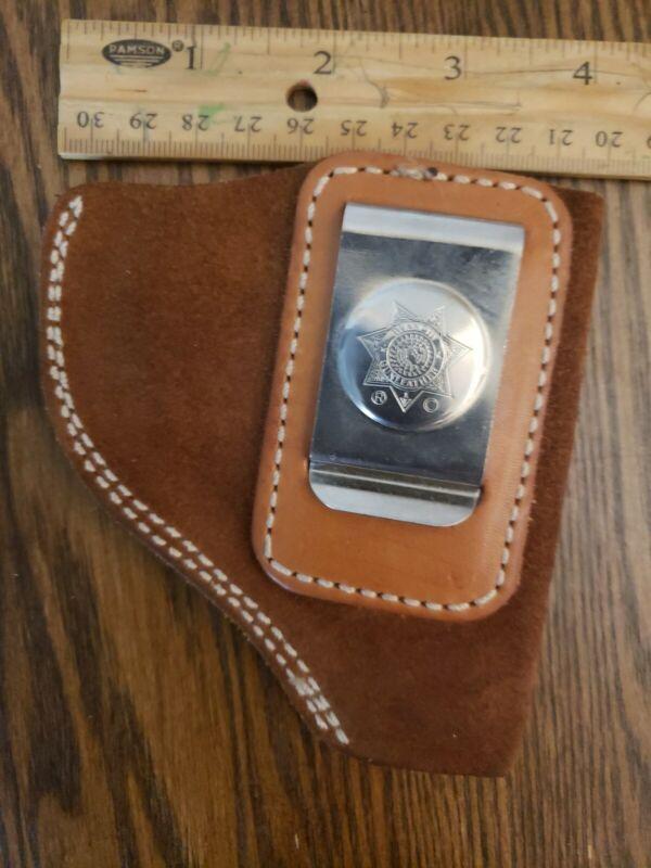 Vg.Bianchi Holster Leather Brown Pistol Pocket Revolver Inside the Pants Clip