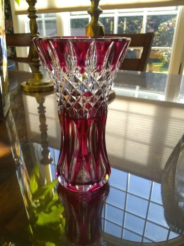 Val St. Lambert Art Glass Cut To Clear In Red Vase