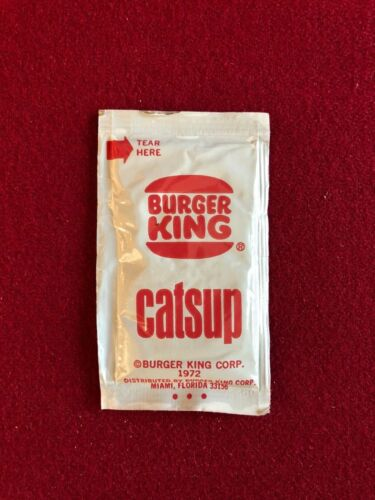 """1972, Burger King, """"Un-Opened"""", """"Catsup"""" Large Packet (RARE)"""