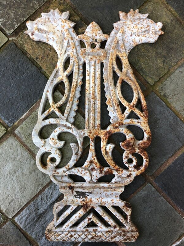 ANTIQUE ARCHITECTURAL SALVAGE DOUBLE HEADED DRAGON METAL PLAQUE GOTHIC