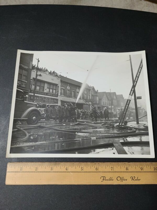 Vintage Fire Department Photograph Active Fire Scene Chicago Ill 1930s