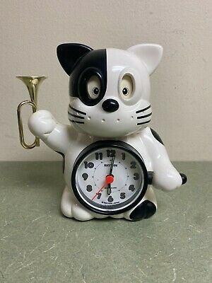 Vintage CAT ALARM CLOCK Japanese Rhythm Talking Norakuro Bugle Reveille Music