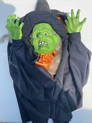 Gemmy Talking Singing Halloween Witch Head Wall Door Hanging Motion Activated