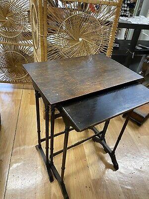 Vintage Old Antique Nest Of 2 Tables